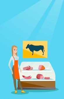 Metzger, der frischfleisch in metzgerei anbietet.