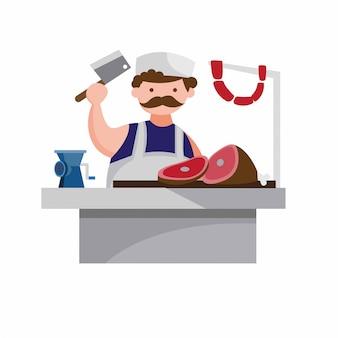 Metzger mann in metzgerei, küche, metzgerei, fleisch & wurst, flache stilillustration