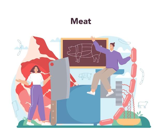 Metzger oder fleischer konzept frischfleisch und halbfabrikate