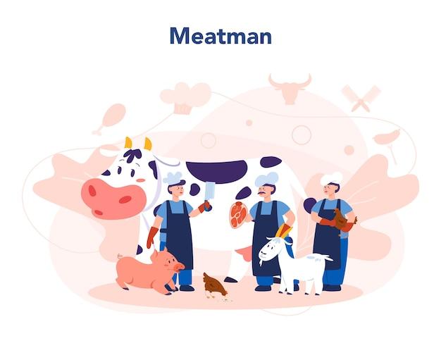 Metzger- oder fleischmannkonzept. frisches fleisch und fleischprodukte mit schinken und würstchen, rind- und schweinefleisch. isolierte vektorillustration
