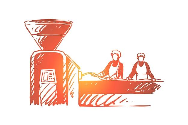 Metzgerei, fabrikarbeiter, leute, die fleischillustration verarbeiten