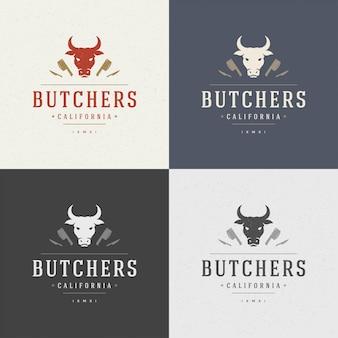 Metzgerei gestaltungselement im vintage-stil für logo
