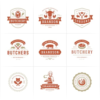 Metzgerei-logos eignen sich gut für farm- oder restaurantabzeichen mit tieren und fleisch