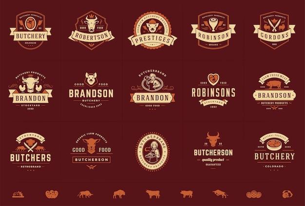 Metzgerei logos set illustration gut für bauernhof oder restaurant abzeichen mit tieren und fleisch silhouetten