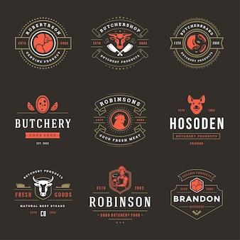 Metzgerei-logos stellen vektorillustrationen ein, die für bauernhof- oder restaurantabzeichen mit tieren und fleischschattenbildern gut sind. retro-typografie-embleme-design.