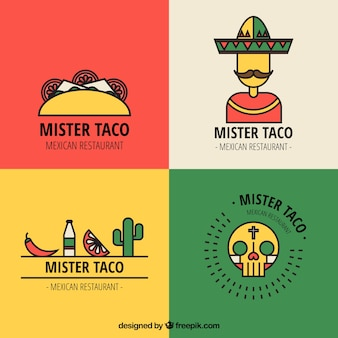 Mexican restaurant logos mit outline