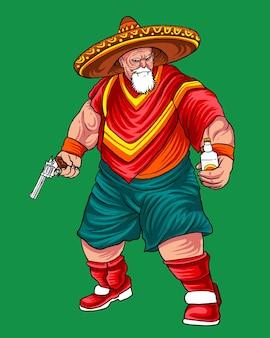 Mexicano cowboy revolverheld illustration