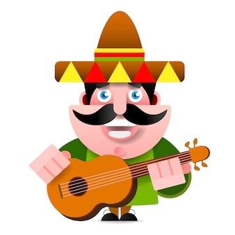Mexikaner in der sombrero-und gitarren-vektor-illustration