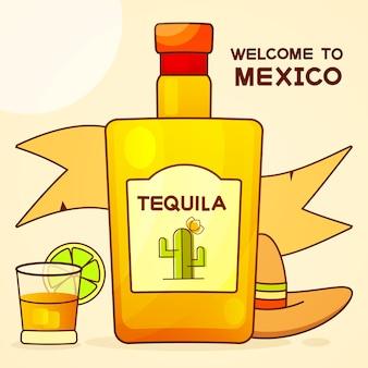 Mexikaner mit einer fantastischen flasche tequila. ausgefallener tequila-name hinzugefügt. vorlage