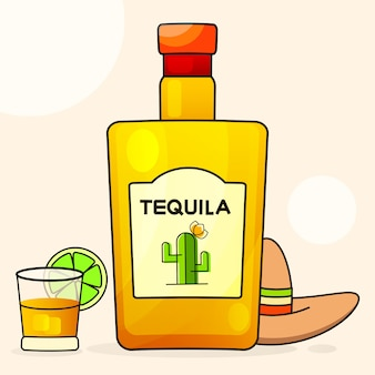 Mexikaner mit einer fantastischen flasche tequila. ausgefallener tequila-name hinzugefügt.