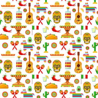 Mexikanische attribute auf weißem hintergrund