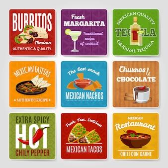 Mexikanische berühmte chili con carne und fajitas snack authentische lebensmittel rezepte etiketten gesetzt
