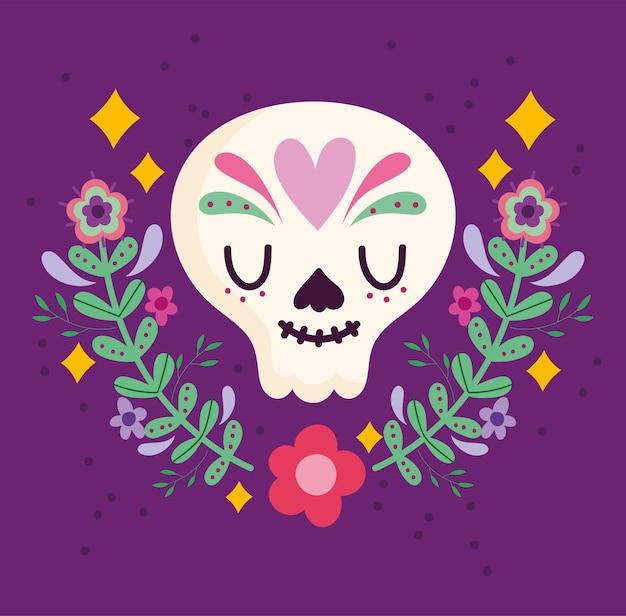 Mexikanische catrina schädelblumendekoration, mexikanische kultur