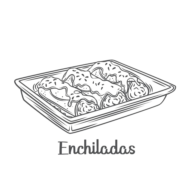 Mexikanische enchiladas umrissillustration. gezeichnete lateinamerikanische küche.