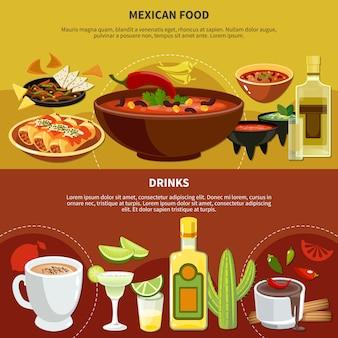 Mexikanische essen und getränke banner