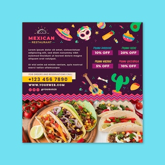 Mexikanische essensfliegerschablone mit foto
