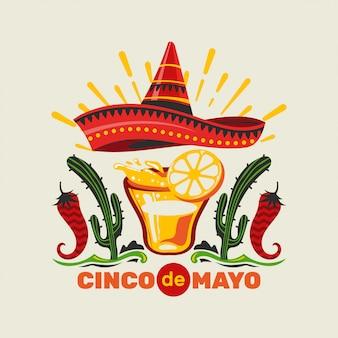 Mexikanische feiertagsfeier-illustrationsprämie cinco de mayo