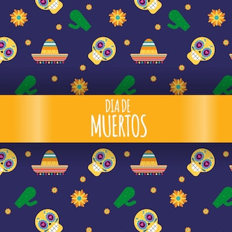 Mexikanische festliche dia de los muertos illustration