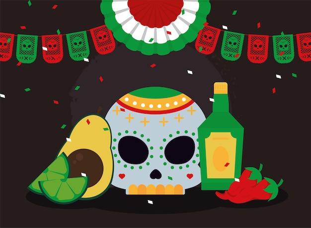 Mexikanische girlanden und symbole