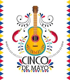 Mexikanische gitarre mit chilischoten zur ereignisfeier