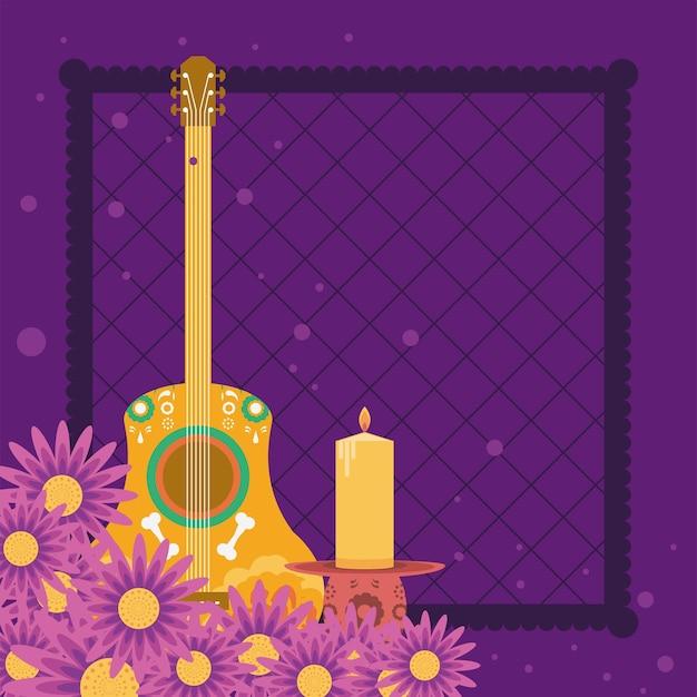 Mexikanische gitarre und kerze