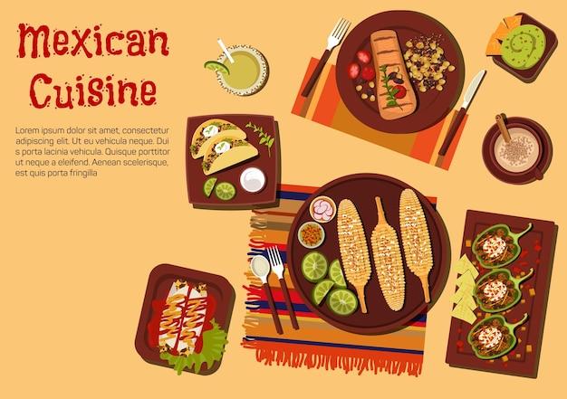 Mexikanische grillgerichte für abendessenikone im freien mit gegrilltem maiskolben