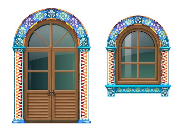 Mexikanische holzfenster und türen