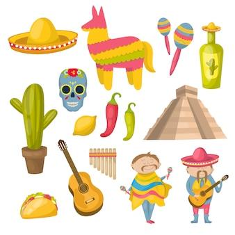Mexikanische ikone, die mit den lokalen bewohnern der traditionen und den charakteristischen merkmalen der vektorillustration des landes gesetzt wird