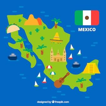 Mexikanische karte mit elementhintergrund
