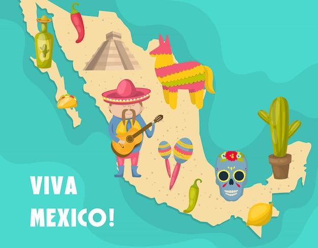 Mexikanische karte mit figur des mexikaners, der eine gitarre spielt und charakteristische merkmale der landvektorillustration