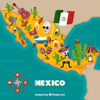 Mexikanische karte mit kulturellen elementen