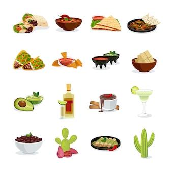 Mexikanische küchetellerimbisse und flache ikonen der getränke eingestellt
