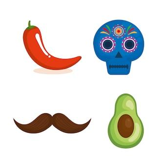 Mexikanische kultur stellen icons