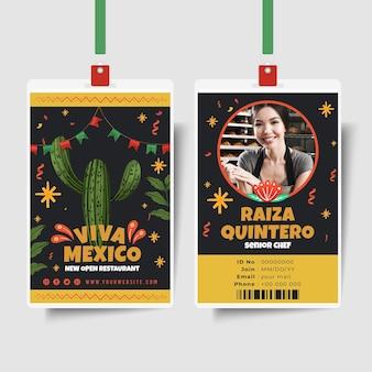 Mexikanische lebensmittel-id-kartenschablone mit foto