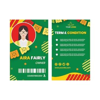 Mexikanische lebensmittel-id-kartenvorlage