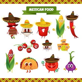 Mexikanische lebensmittelcharaktere sammlung