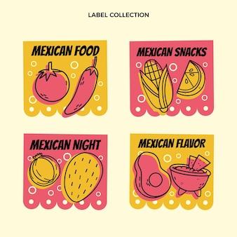 Mexikanische lebensmitteletiketten im flachen design