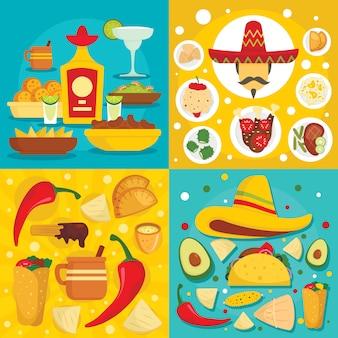 Mexikanische lebensmittelhintergründe des taco