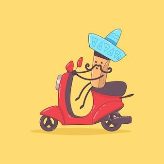 Mexikanische lebensmittellieferung. netter kuriercharakter auf dem moped. karikaturillustration lokalisiert auf hintergrund.