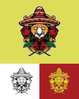 Mexikanische leopardenlogoillustration