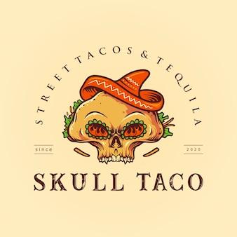 Mexikanische logo-maskottchen-illustrationen des zuckerschädels-taco