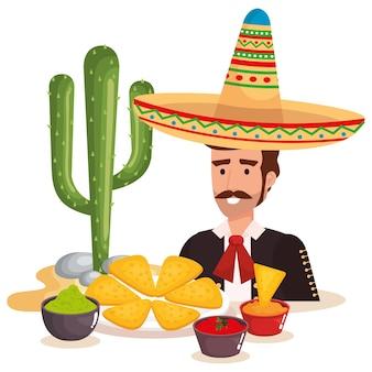 Mexikanische mariachi mit essen charakter