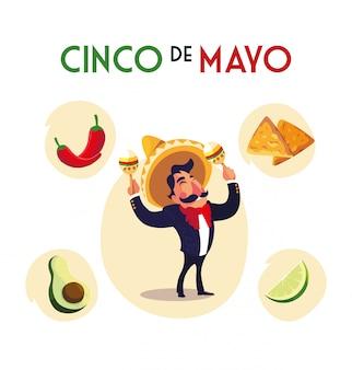 Mexikanische mariachi mit ikonen des cinco de mayo