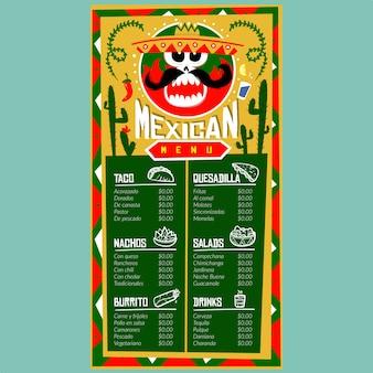 Mexikanische menüvorlage für restaurant und café. designschablone mit von hand gezeichneten grafischen illustrationen des lebensmittels