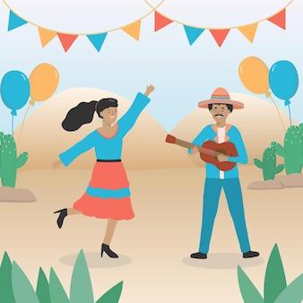 Mexikanische mottoparty-konzept. mexikanischer junger mann, der gitarre spielt eine junge frau in einer hellen bluse und einem rock tanzt zur musik. der platz ist mit fahnen und luftballons geschmückt.