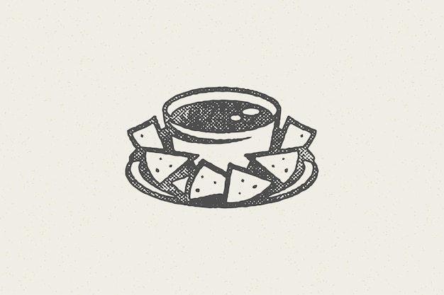 Mexikanische nachos-silhouette in schüssel mit saucenlogo
