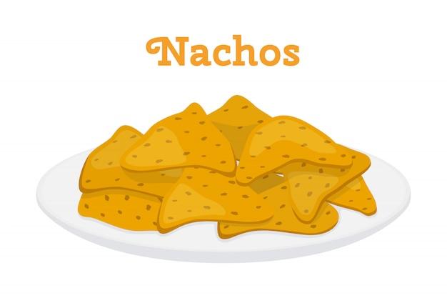 Mexikanische nachoschips, würziges schnellimbiß