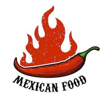 Mexikanische nahrung. chili-pfeffer mit feuer auf weißem hintergrund. illustration