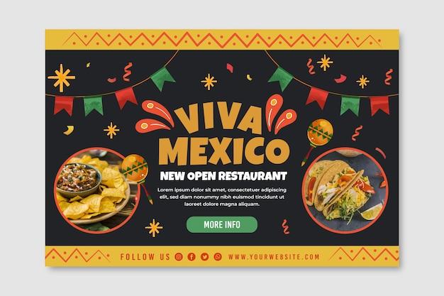 Mexikanische nahrungsmittelfahnenschablone mit foto