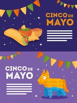 Mexikanische pinata burrito schüssel und nachos von cinco de mayo